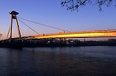 Bratislava, Slovakia. Bridge over the Danube at sunset.