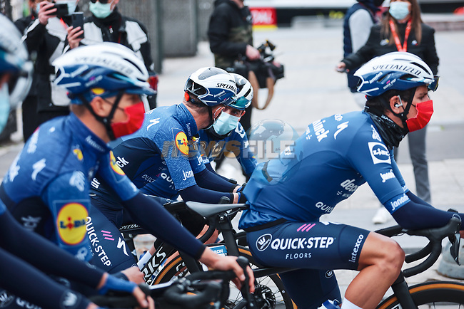 Deceuninck-Quick Step at the team presentations before the start of the 107th edition of Liege-Bastogne-Liege 2021, running 259.1km from Liege to Liege, Belgium. 25th April 2021.  <br /> Picture: A.S.O./Aurelien Vialatte | Cyclefile<br /> <br /> All photos usage must carry mandatory copyright credit (© Cyclefile | A.S.O./Aurelien Vialatte)