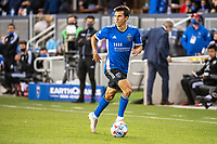 SAN JOSE, CA - MAY 12: Shea Salinas #6 of the San Jose Earthquakes looks up to pass the ball during a game between San Jose Earthquakes and Seattle Sounders FC at PayPal Park on May 12, 2021 in San Jose, California.
