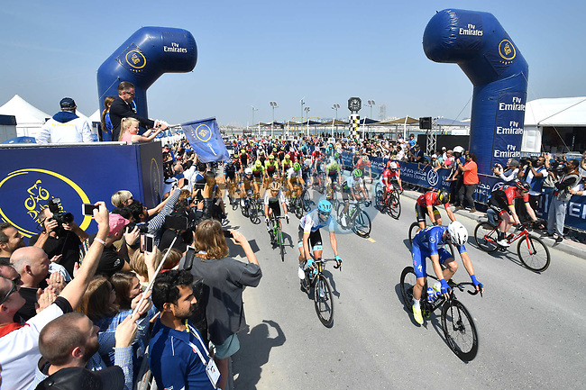 The start of Stage 5 The Meraas Stage final stage of the Dubai Tour 2018 the Dubai Tour's 5th edition, running 132km from Skydive Dubai to City Walk, Dubai, United Arab Emirates. 10th February 2018.<br /> Picture: LaPresse/Massimo Paolone   Cyclefile<br /> <br /> <br /> All photos usage must carry mandatory copyright credit (© Cyclefile   LaPresse/Massimo Paolone)