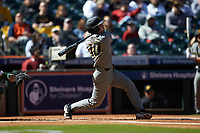 Clayton Peterson (10) of the Missouri Tigers follows through on his swing against the Baylor Bears in game one of the 2020 Shriners Hospitals for Children College Classic at Minute Maid Park on February 28, 2020 in Houston, Texas. The Bears defeated the Tigers 4-2. (Brian Westerholt/Four Seam Images)