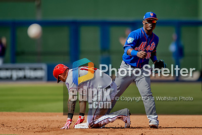 7 March 2019: New York Mets infielder Dilson Herrera turns a double-play in the 4th inning of a Spring Training Game against the Washington Nationals at the Ballpark of the Palm Beaches in West Palm Beach, Florida. The Nationals defeated the visiting Mets 6-4 in Grapefruit League, pre-season play. Mandatory Credit: Ed Wolfstein Photo *** RAW (NEF) Image File Available ***