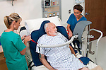 KCI Healthcare product demonstration with patient, nurses in a hospital