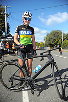 Under-19 Women's road race champion Ally Wollaston after the Carterton-Martinborough-Gladstone circuit, on day two of the 2018 NZ Age Group Road Cycling Championships in Carterton, New Zealand on Sunday, 22 April 2018. Photo: Dave Lintott / lintottphoto.co.nz