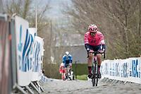 Stefan Bissegger (SUI/EF Education - Nippo) is the race leader up the 2nd ascent of the Oude Kwaremont<br /> <br /> 105th Ronde van Vlaanderen 2021 (MEN1.UWT)<br /> <br /> 1 day race from Antwerp to Oudenaarde (BEL/264km) <br /> <br /> ©kramon