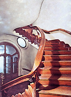 Rudolf Steiner House in London, England, the first unique example of expressionist architecture with sculptural staircase based on organic plant forms. Built between 1926 and 1937 and designed by Montague Wheeler. Inspired by the work of Rudolf Steiner with elements of art nouveau - the design promoted flowing forms and the feeling of movement.