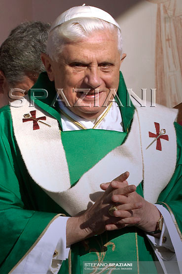 Pope Benedict XVI holds his pastoral staff as he celebrates a mass in Velletri, south of Rome, September 23, 2007.