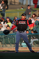 Josh Naylor (32) of the Lake Elsinore Storm throws to his infielders between innings of a game against the Lancaster JetHawks at The Hanger on June 12, 2017 in Lancaster, California. Lancaster defeated Lake Elsinore, 13-6. (Larry Goren/Four Seam Images)