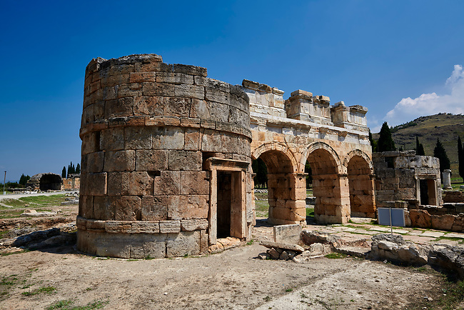 Picture of the Roman North Gate built by Domitian. Hierapolis archaeological site near Pamukkale in Turkey.