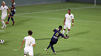 CARY, NC - AUGUST 01: Dre Fortune #8 scores a goal during a game between Birmingham Legion FC and North Carolina FC at Sahlen's Stadium at WakeMed Soccer Park on August 01, 2020 in Cary, North Carolina.