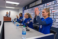 CHICAGO, IL - OCTOBER 5: Ashlyn Harris #18 of the United States speaks at a kid's press conference at Soldier Field on October 5, 2019 in Chicago, Illinois.