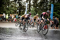 Egan Bernal (COL/Ineos) storming up the Col de Porte (with 2km to go) with Primoz Roglic (SVK/Jumbo-Visma) in tow<br /> <br /> Stage 2: Vienne to Col de Porte (135km)<br /> 72st Critérium du Dauphiné 2020 (2.UWT)<br /> <br /> ©kramon