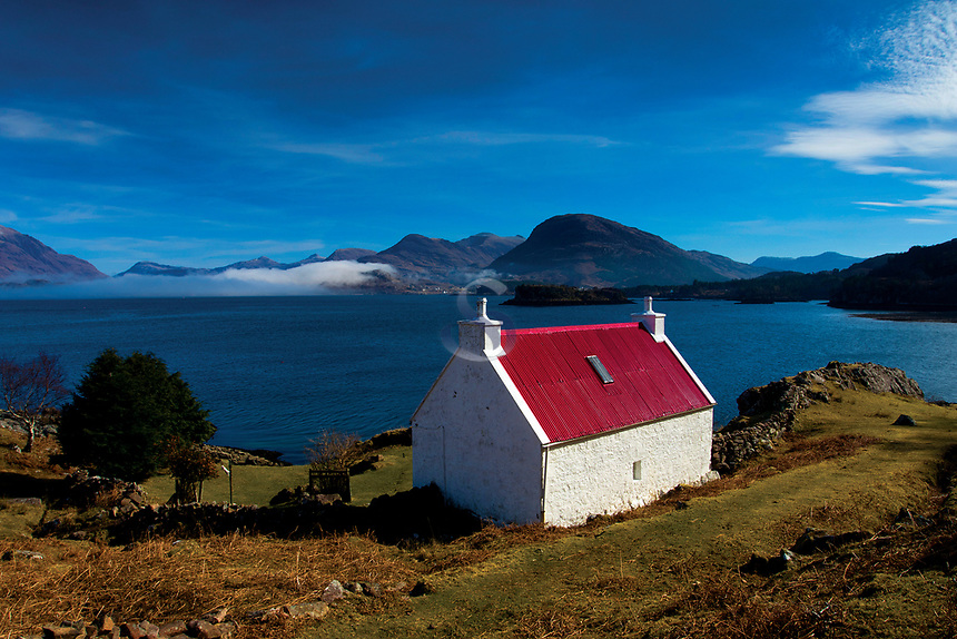 Red roofed cottage, Kenmore, Loch Torridon and the mountains of Torridon, Ross & Cromarty, Northwest Highlands