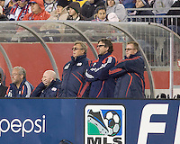 New England Revolution goalkeepers coach Gwynne Williams, New England Revolution assistant coach Paul Mariner, and New England Revolution head coach Steve Nicol watch the action. The New England Revolution defeated FC Dallas, 2-1, at Gillette Stadium on April 4, 2009. Photo by Andrew Katsampes /isiphotos.com