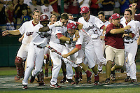 The South Carolina Gamecocks celebrate winning the NCAA Division One Men's College World Series on June 29th, 2010 at Johnny Rosenblatt Stadium in Omaha, Nebraska.  (Photo by Andrew Woolley / Four Seam Images)
