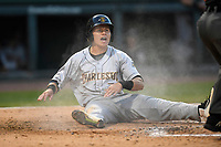 Shortstop Diego Castillo (7) of the Charleston RiverDogs can't believe he was called out at the plate in Game 3 of the South Atlantic League Southern Division Playoff against the Greenville Drive on Saturday, September 9, 2017, at Fluor Field at the West End in Greenville, South Carolina. Greenville won, 5-0, winning the division championship two games to one. (Tom Priddy/Four Seam Images)