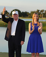 DORAL, FL - MARCH 9: Donald Trump_Ivanka Trump during the final round of the World Golf Championships-Cadillac Championship at Blue Monster,  at Trump National Doral, on March 9, 2014 in Doral, Florida. <br /> <br /> <br /> People:  Donald Trump_Ivanka Trump