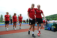 Gemma Evans and Shaunna Jenkins during the Wales Women Press Conference and Training Session at the Cardiff International Sports Stadium in Cardiff, Wales, UK. Monday 03 June 2019