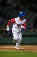 Stockton Ports second baseman Nate Mondou (10) hustles down the first base line during a California League game against the Rancho Cucamonga Quakes at Banner Island Ballpark on May 16, 2018 in Stockton, California. Rancho Cucamonga defeated Stockton 6-3. (Zachary Lucy/Four Seam Images)