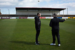 Arbroath 0 Edinburgh City 1, 15/03/2017. Gayfield Park, SPFL League 2. Away manager Gary Jardine (right) and midfielder Craig Beattie chatting on the pitch at Gayfield Park before Arbroath hosted Edinburgh City in an SPFL League 2 fixture. The newly-promoted side from the Capital were looking to secure their place in SPFL League 2 after promotion from the Lowland League the previous season. They won the match 1-0 with an injury time goal watched by 775 spectators to keep them 4 points clear of bottom spot with three further games to play. Photo by Colin McPherson.