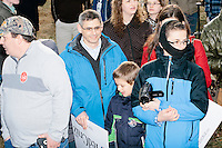 People gather to meet Texas senator and Republican presidential candidate Ted Cruz after he spoke at a Second Amendment Rally outside Granite State Indoor Range in Hudson, New Hampshire.
