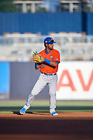 St. Lucie Mets second baseman Luis Carpio (12) throws to first base during a Florida State League game against the Tampa Tarpons on April 10, 2019 at George M. Steinbrenner Field in Tampa, Florida.  St. Lucie defeated Tampa 4-3.  (Mike Janes/Four Seam Images)