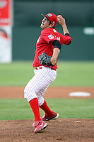 June 23rd 2008:  Pitcher Ramon Delgado (15) of the Batavia Muckdogs, Class-affiliate of the St. Louis Cardinals, during a game at Dwyer Stadium in Batavia, NY.  Photo by:  Mike Janes/Four Seam Images