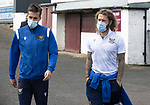 Arbroath v St Johnstone…15.08.21  Gayfield Park      Premier Sports Cup<br />Stevie May and Callum Booth arrive for today's match<br />Picture by Graeme Hart.<br />Copyright Perthshire Picture Agency<br />Tel: 01738 623350  Mobile: 07990 594431