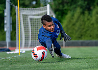 CLEVELAND, OH - SEPTEMBER 14: Adrianna Franch of the United States makes a save during a training session at the training fields on September 14, 2021 in Cleveland, Ohio.