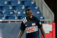 FOXBOROUGH, MA - AUGUST 5: Edward Kizza #19 of New England Revolution II on field portrait during a game between North Carolina FC and New England Revolution II at Gillette Stadium on August 5, 2021 in Foxborough, Massachusetts.