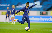 SOLNA, SWEDEN - APRIL 10: Carli Lloyd #10 of the United States warming up before a game between Sweden and USWNT at Friends Arena on April 10, 2021 in Solna, Sweden.