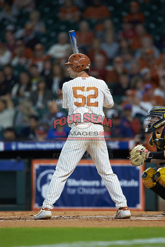 Zach Zubia (52) of the Texas Longhorns at bat against the Missouri Tigers in game eight of the 2020 Shriners Hospitals for Children College Classic at Minute Maid Park on March 1, 2020 in Houston, Texas. The Tigers defeated the Longhorns 9-8. (Brian Westerholt/Four Seam Images)