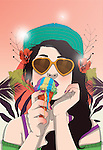 Illustration of woman eating ice cream on a sunny day
