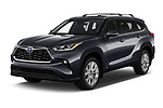 2021 Toyota Highlander-Hybrid Limited 5 Door SUV Angular Front automotive stock photos of front three quarter view