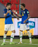 08th June 2021; Defensores del Chaco Stadium, Asuncion, Paraguay; World Cup football 2022 qualifiers; Paraguay versus Brazil;   Lucas Paquetá of Brazil celebrates his goal with Neymar in the 93rd minute 0-2