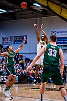 12 March 2019: University of Vermont Catamount Guard Stef Smith, a Sophomore from Ajax, Ontario, shoots for three in the first half against the Binghamton University Bearcats at Patrick Gymnasium in Burlington, Vermont. Smith set the America East Semifinal record with eight three-pointers, finishing his historic night with a career-high 28 points, as the top-seeded Catamounts advanced to their fourth-straight AE conference championship game, defeating the Bearcats 84-51. Mandatory Credit: Ed Wolfstein Photo *** RAW (NEF) Image File Available ***