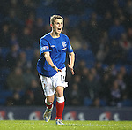 Robbie Crawford screaming for a cutback from Barrie McKay as the young Gourock man is umnarked in front of goal