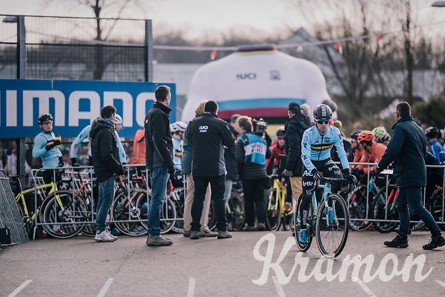 Eli Iserbyt (BEL/Marlux-Bingoal) is the first to be called to the start line<br /> <br /> U23 Men's Race<br /> UCI CX Worlds 2018<br /> Valkenburg - The Netherlands
