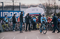 Eli Iserbyt (BEL/Marlux-Bingoal) is the first to be called to the start line<br /> <br /> U23 Men's Race<br /> UCI CX Worlds 2018<br /> Valkenburg - The Netherlands
