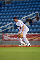 Pensacola Blue Wahoos Shrimp first baseman Gavin LaValley (25) during a game against the Jacksonville Jumbo on August 15, 2018 at Blue Wahoos Stadium in Pensacola, Florida.  Jacksonville defeated Pensacola 9-2.  (Mike Janes/Four Seam Images)