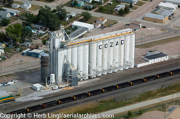 aerial photograph truck being loaded with corn at grain elevator Cozad, Nebraska