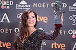 Silvia Perez Cruz pose to the media with the Goya award at Madrid Marriott Auditorium Hotel in Madrid, Spain. February 04, 2017. (ALTERPHOTOS/BorjaB.Hojas)