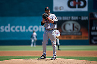 Inland Empire 66ers starting pitcher Travis Herrin (45) during a California League game against the Lake Elsinore Storm on April 14, 2019 at The Diamond in Lake Elsinore, California. Lake Elsinore defeated Inland Empire 5-3. (Zachary Lucy/Four Seam Images)