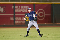 AZL Padres left fielder Greg Lambert (27) on defense against the AZL Indians on August 30, 2017 at Goodyear Ball Park in Goodyear, Arizona. AZL Padres defeated the AZL Indians 7-6. (Zachary Lucy/Four Seam Images)
