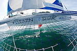 Onboard the MOD70 Race for Water, the first of the new series of oceanic one-design multihulls, skipper Steve Ravussin, Lorient, Brittany, France.