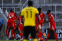 July 16th 2021; Orlando, Florida, USA; Guadeloupe players celebrate their goal during the Concacaf Gold Cup match between Guadeloupe and Jamaica on July 16, 2021 at Exploria Stadium in Orlando, Fl.