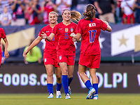 PHILADELPHIA, PA - AUGUST 29: Morgan Brian #7 and Tobin Heath #17 of the United States celebrate during a game between Portugal and the USWNT at Lincoln Financial Field on August 29, 2019 in Philadelphia, PA.