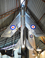 BNPS.co.uk (01202 558833)<br /> Pic: RAFMuseumCosford/BNPS<br /> <br /> Vertically challenged - English Electric Lightning.<br /> <br /> Prop Dusting - The annual spring clean of the stunning aircraft hall at the RAF Museum at Cosford has begun.<br /> <br /> A crack team of aerial cleaners are abseiling over the historic aircraft, some of which are suspended up to a hundred feet above the museum floor, all week to clean away any residue dust and check over the suspension cables.