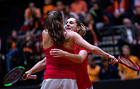 Den Bosch, The Netherlands, Februari 10, 2019,  Maaspoort , FedCup  Netherlands - Canada, doubles match Sunday : Winners Dabrowski/Marino (CAN) selebrate<br /> Photo: Tennisimages/Henk Koster