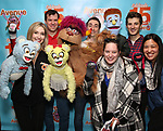 "Jamie Glickman, Jason Jacoby and Matt Dengler with Avenue Q & Puppetry Fans during ""Avenue Q"" Celebrates World Puppetry Day at The New World Stages on 3/21/2019 in New York City."